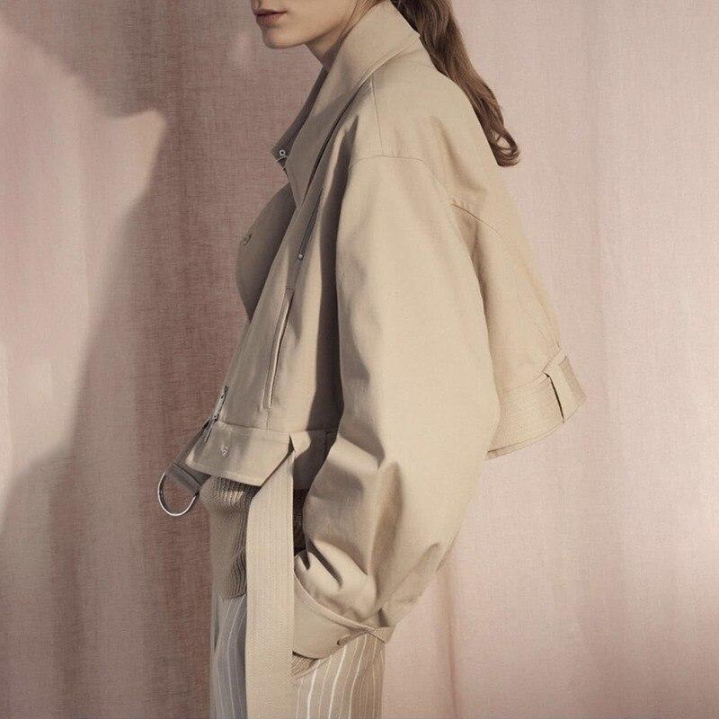 TWOTWINSTYLE jesień odpinany trencz dla kobiet dwa nosić wiatrówka wysokiej talii z paskiem płaszcze ubrania damskie moda nowy w Trencze od Odzież damska na  Grupa 3