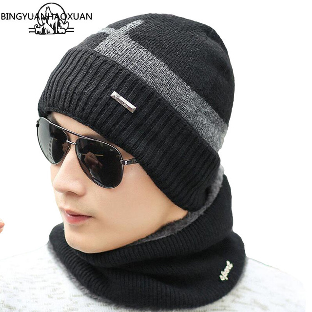 bfa1f23c1b37b BINGYUANHAOXUAN 2017 Arrival of Knitted Hats Men s Hat Winter Hats For Men  Caps Gorros Warm Winter Beanie Knit Hat Hot Cup Caps