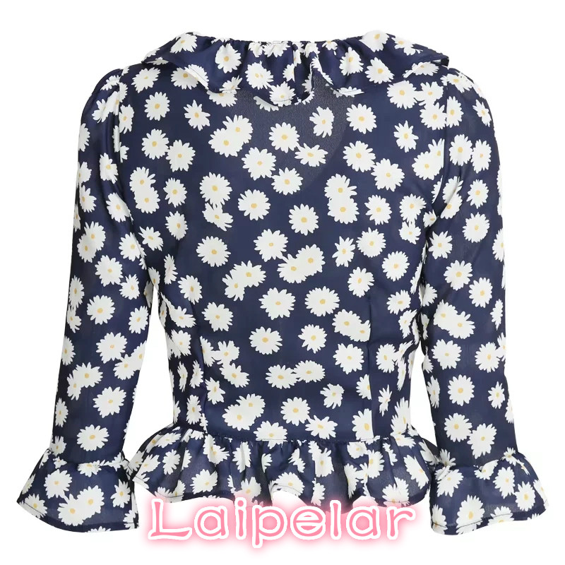 2018 Sexy crop top ruffle long sleeve chiffon shirt Summer womens tops and blouses boho white dot or floral print women blouses in Blouses amp Shirts from Women 39 s Clothing