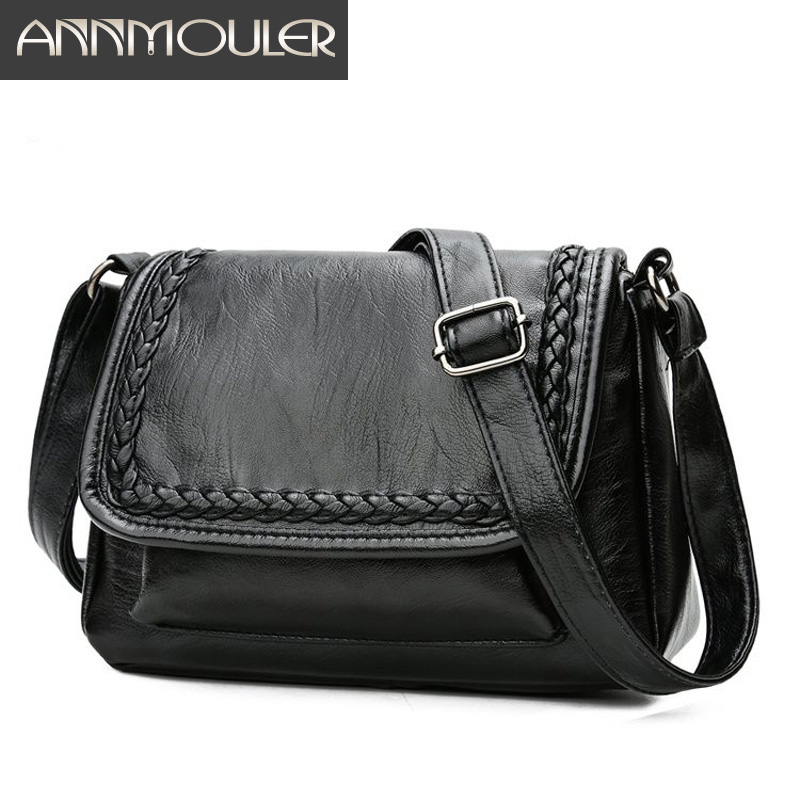 Annmouler Fashion Women Shoulder Bag Pu Leather Flap Bag Casual Messenger Bag For Ladies Black Travel Crossbody Bag