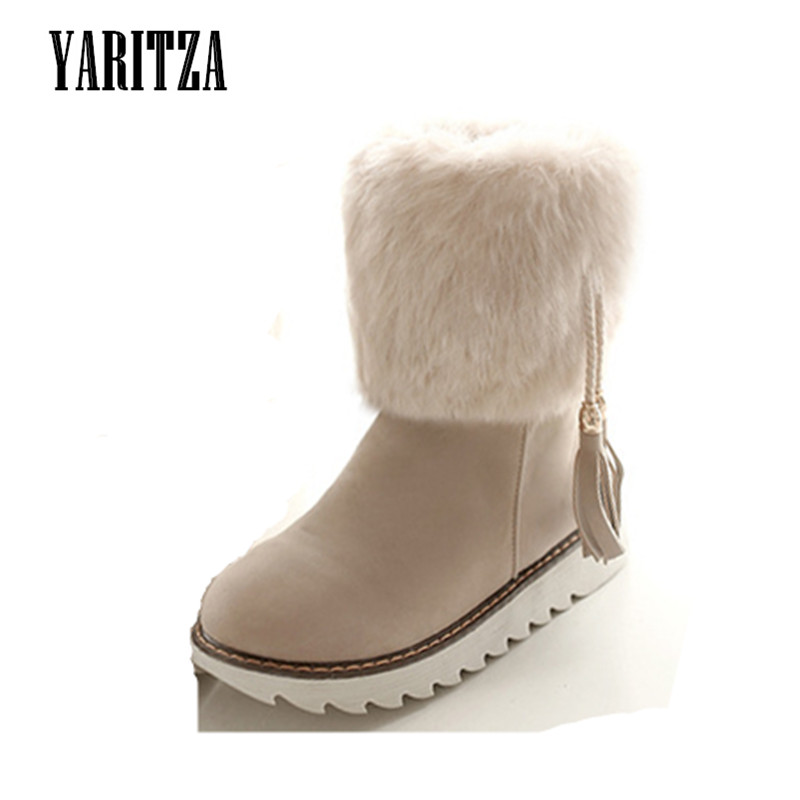 ФОТО YARITZA 2017 New Fashion Women Winter Boots Fur Leather Fringe Comfortable Women Boots Flat With Shoes For Female Snow Boots