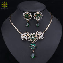 Fashion Jewelry Sets Nigerian Women Bridal Green/Red Crystal Wedding African Beads Flower Pendant Necklace Earrings Sets(China)