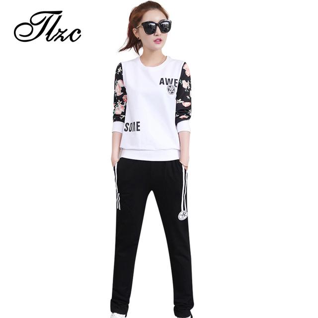 Tlzc new hot lady vestuário set hoodies + sweatpants plus tamanho M-4XL Mulheres Suit Casual Padrão Floral Lady Terno Relaxar conjuntos