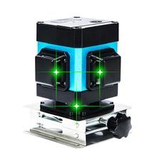 Зеленый лазерный уровень 12 линия 3D 360 вертикальный и горизонтальный настенный лазерный уровень самонивелирующийся крест-линия 3D лазерный уровень наружный внутренний