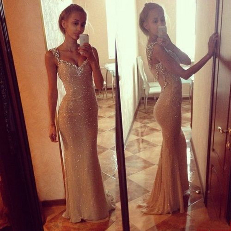 Vestidos de fiesta Mermaid Cap Sleeve Crystal Sleeveless   Evening     Dress   Prom   Dress   2015 New Arrival