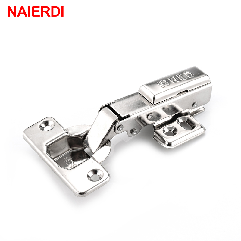 NAIERDI Full Size 304 Stainless Steel Hydraulic Hinge Pure Copper Damper Buffer Cabinet Cupboard Door Hinges Furniture Hardware stainless steel door hinges hydraulic buffer automatic closing door spring hinge 125 78mm furniture cabinet drawer hardware