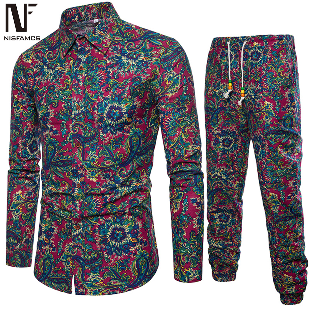 Chinese Vintage Male Vacation Set Club Boys TrackSuits Hot Sale Man Clothing 2020 Autumn New Fashion Floral Pants And Shirt Suit