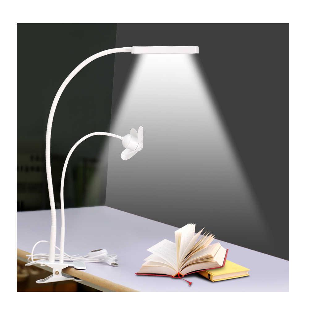 USB светодиодный настольная лампа с зажимом и небольшой вентилятор DC5V 5 режимов Затемняя Гибкие чтение в постели книга Deak настольная лампа