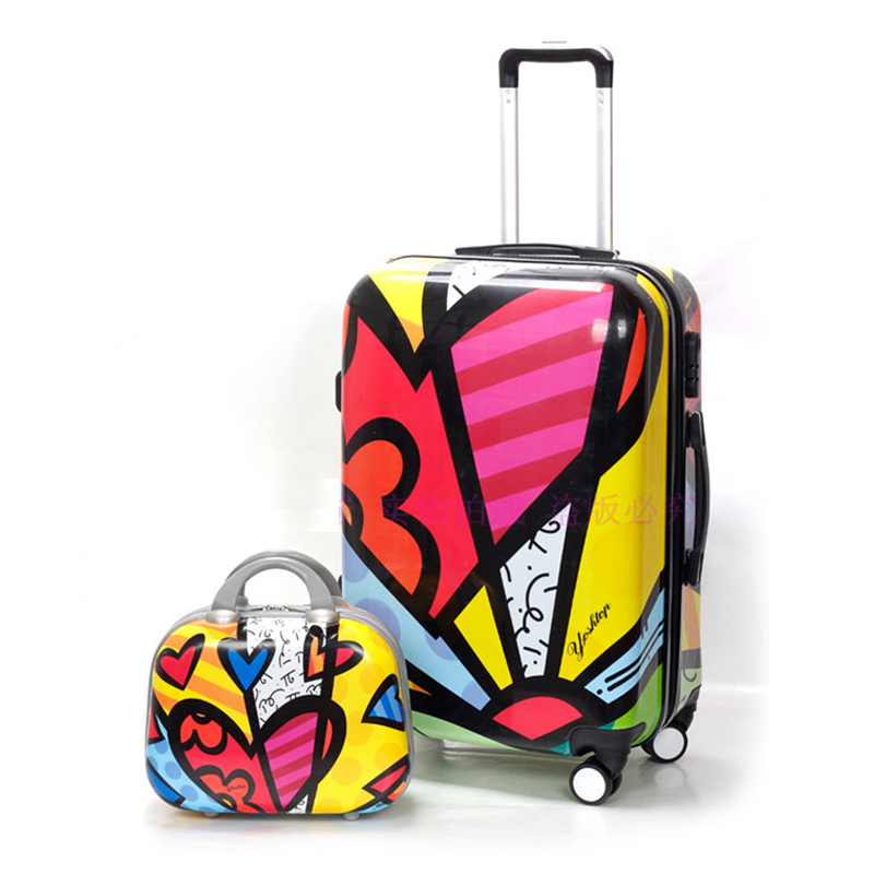 2PCS/SET 14 inch Cosmetic bag 20/24 inches girl students trolley case spinner luggage handbag woman rolling suitcase travel bag-in Luggage Sets from Luggage & Bags    1