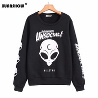 BLACK LONG SLEEVE GOTHIC THANKSGIVING CARNIVAL COOL PATTERNED SKULL PRINT SWEATSHIRT