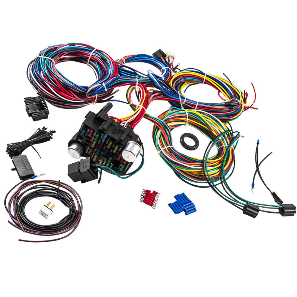 Universal Wire Harness With Fuse Box Wiring Library Cnch 21 Circuit 17 Fuses Hot Extra Long Wires In
