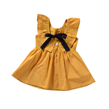 Hot Selling Baby Girls Toddler Dress Sleeveless Solid Color Bows and Lotus Leaf collar Children's Wear Children's Dress fashionable round collar sleeveless pleated solid color dress for women