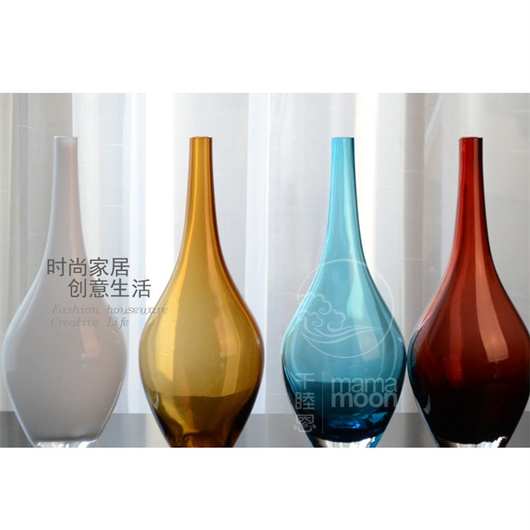modern chinese style multicolour crystal glass vase decorationchina mainland - Decorative Vases