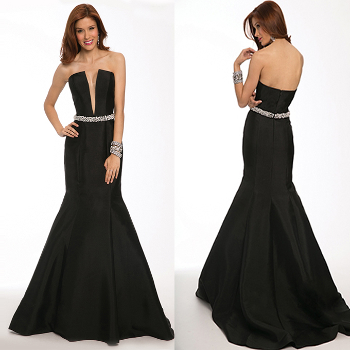 Popular Black Strapless Mermaid Prom Dress-Buy Cheap Black ...