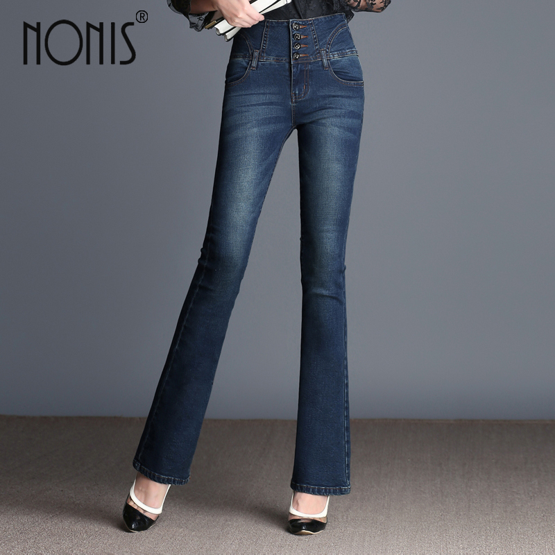 Nonis Tassel Women Jeans Full length Flared Trousers Slim Denim Pants High Waist Jeans 2017 Autum Casual Female pantalon round toe autumn shoes high heel platform black casual lace up 2017 front ankle boots booties patent leather female ladies new