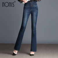Nonis Tassel Women Jeans Full length Flared Trousers Slim Denim Pants High Waist Jeans 2017 Autum Casual Female pantalon