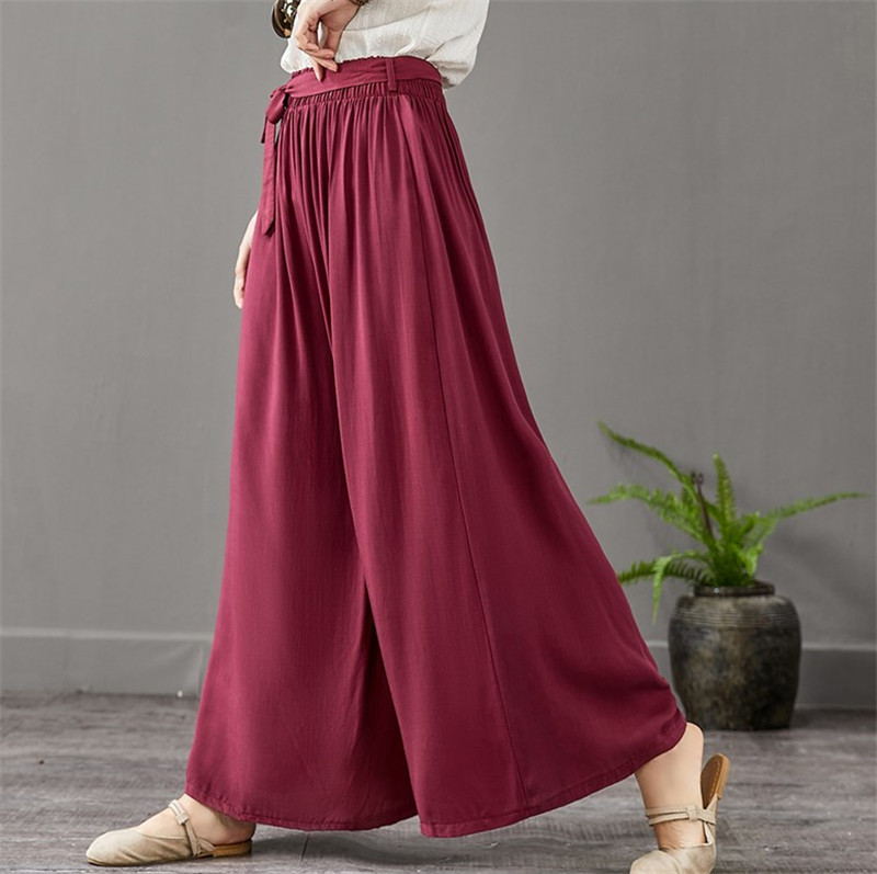 2019 Summer Women Wide Leg Pants Vintage Casual Loose Elastic Waist thinTrousers Cotton linen Pants Oversized Plus Size 6xl 7xl