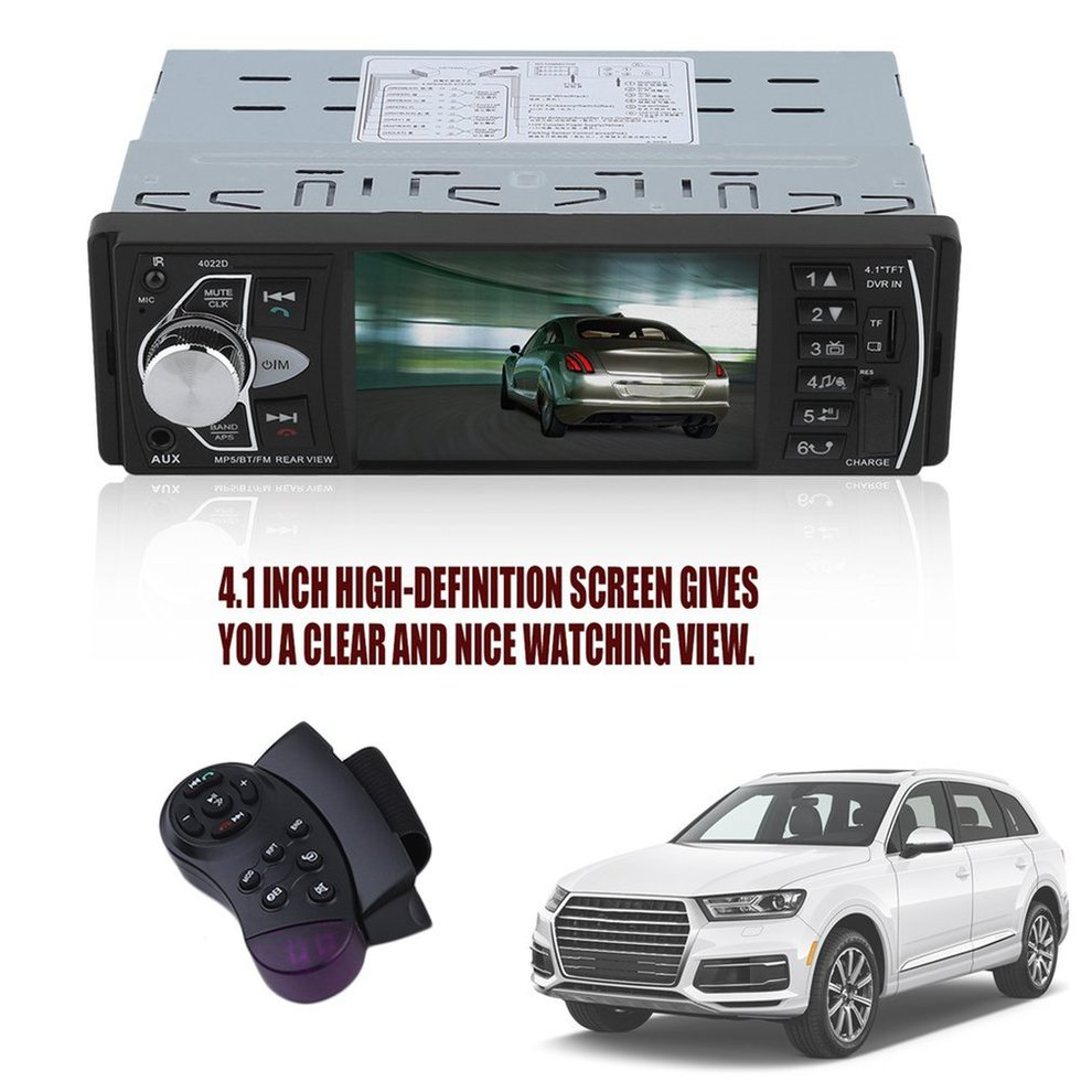 4022D Car radio music player rear view camera supports MP5 / MP4 / MP3 / FM transmitter car video remote + 4LED car camera