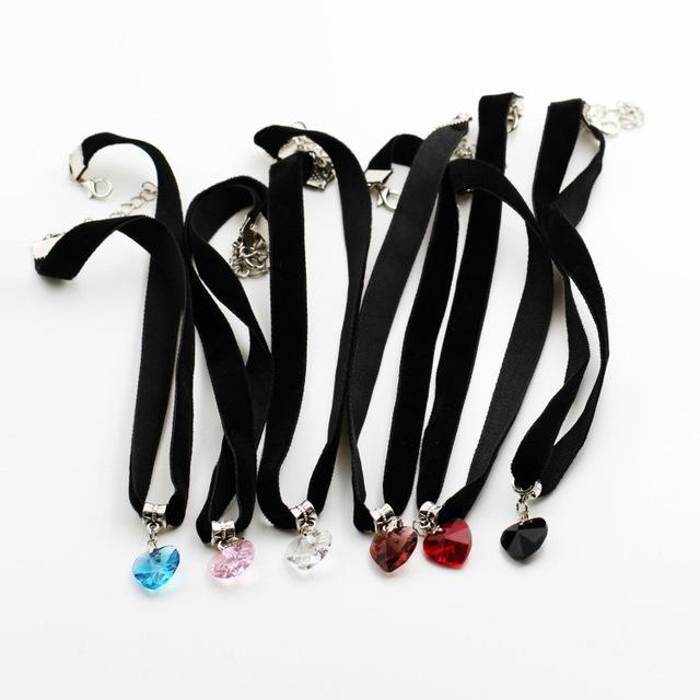 6 Colors Simple Heart Necklaces & Pendants Lace Chokers Necklaces Maxi Steampunk collares bib Bar Necklace collier boheme