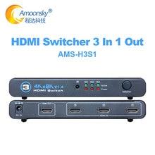 3 en 1 out HDMI Switch, 3 puertos 4K * 2K Switcher Splitter Box Ultra HD para DVD HDTV Xbox in LCD display