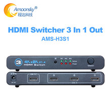 3 in 1 out HDMI Switch, 3 Port 4K*2K Switcher Splitter Box Ultra HD for DVD HDTV Xbox in LCD display