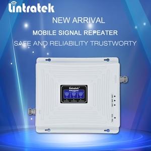 Image 2 - Lintratek חדש Tri אותות בוסטרים GSM 3G UMTS 4G LTE 900 2100 2600 Mhz (GSM + להקת 1 + להקת 7) LCD טלפון נייד אות מהדר @