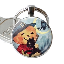 Fashion Halloween Glass Dome Black Cat Pendant Key Chain Jewelry Pumpkin Love Keychain Alloy Ring Bag Decor Gift