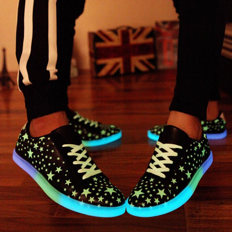 Lotus Jolly Women Casual Luminous Shoes Fluorescence Star Light Up Glowing  Adults Lovers Women Pu Leather Shoes zapatos mujer-in Women s Flats from  Shoes on ... eeab24042