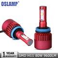 Oslamp H11 H8 H9 Farol Do Carro LEVOU CREE Chips de Led SMD Fog Lâmpada DRL 80 W 9600lm 6500 K Auto Farol Levou 12 v 24 v Carro iluminação