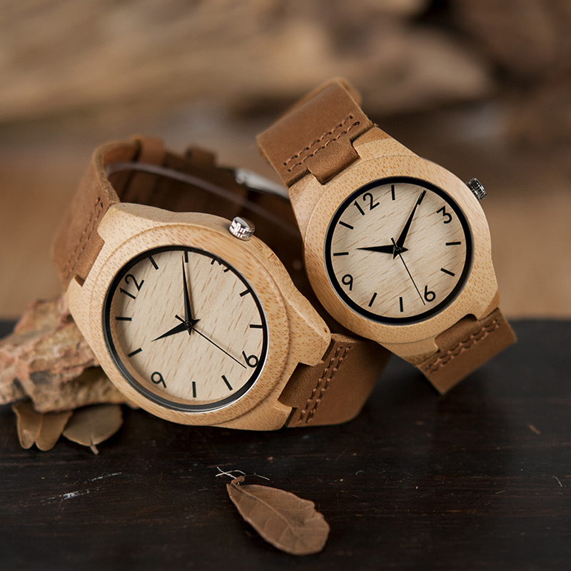 BOBO BIRD Lovers' Watches Genuine Leather Strap Japanese Quartz Movement Wristwatch Drop Shipping
