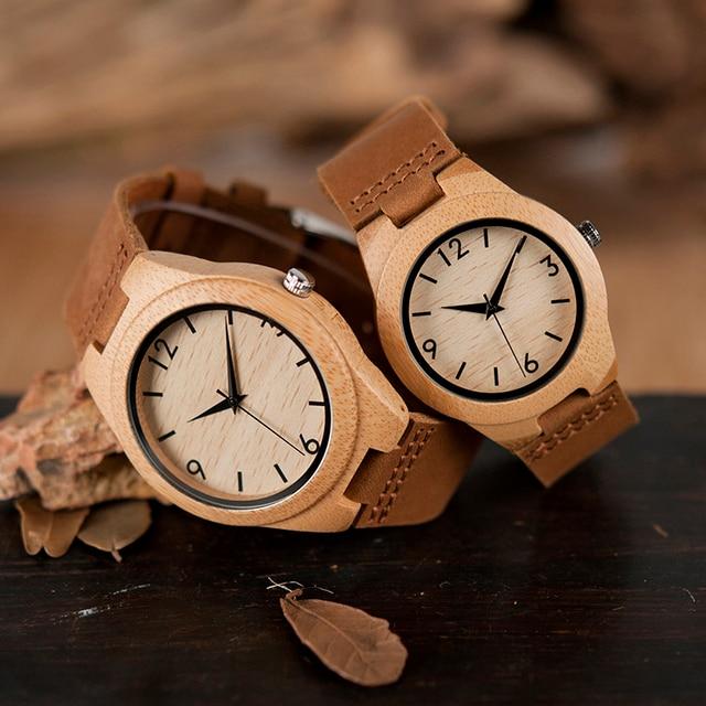 BOBO BIRD Lovers' Watches Genuine Leather Strap Japanese Quartz Movement Wristwa