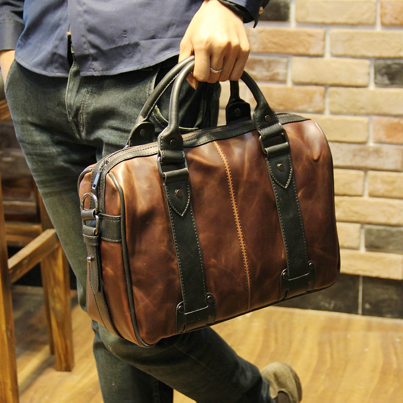 Fashion Brand New Brown Leather Travel Bags With Side Pockets For Men,Rivet & Hasp Travel Man Bag,Casual Male Business Bolsas orange roll neck casual dress with two side pockets