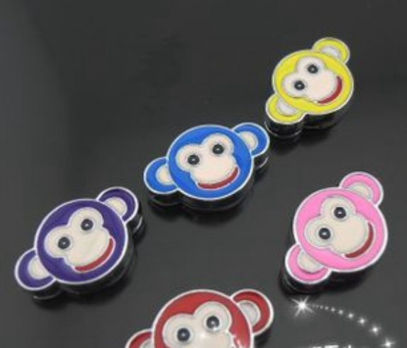 8mm Mixed Color Mouse Head Slide Charms Internal Dia.:8mm Can Through 8mm Pet Collar Wristband Belt DIY Charms