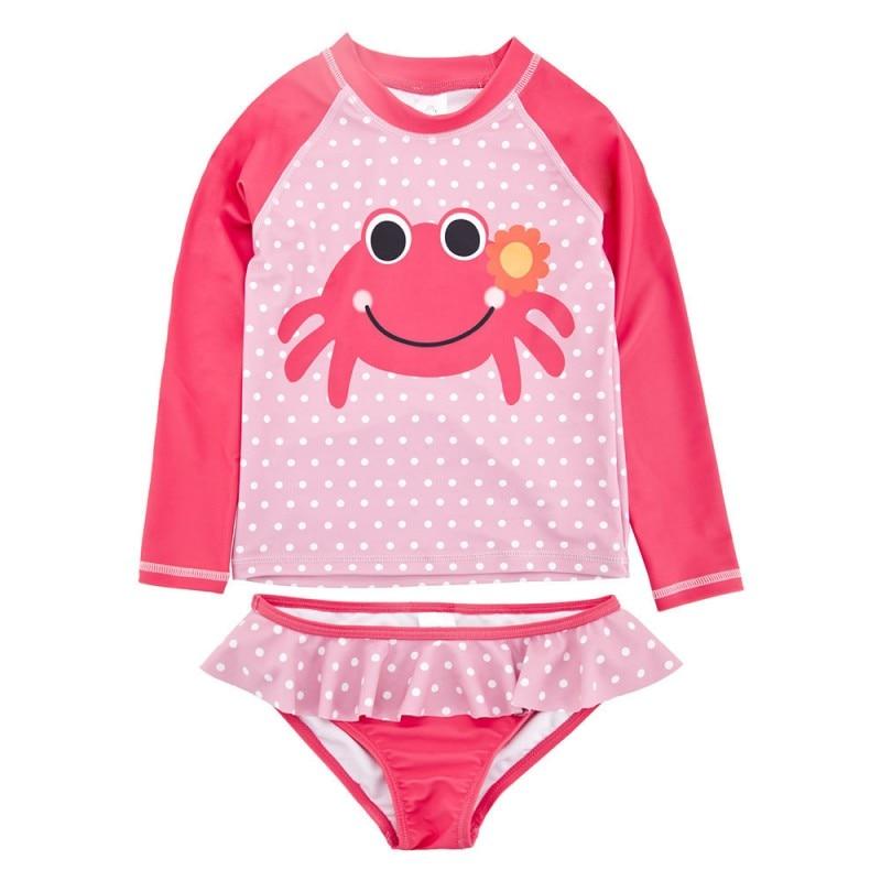 Baby Girls Crab Pink Dot Swimsuit Long Sleeves Swimwear Children Bath Beach Wear Shark Swimsuit Korea Style 2-piece Bathing Suit