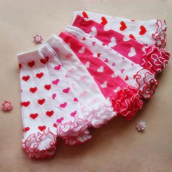 Dziecięce getry dziecięce Legging rajstopy bawełniane serce skarpetki walentynki niemowlę maluch wzburzyć podgrzewacze piękne Kniekousen Meisje tanie i dobre opinie biobella Dla dzieci COTTON Poliester Dziecko dziewczyny Cotton+Polyester Nowość Geometryczne Leg Warmers Baby Red Pink White