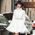 2017 Real Hot Sale Long Sleeve Zipper Collar Fashion Luxury Thin Female Medium-long Down Coat Cloak A Slim Skirt Duck Outerwear