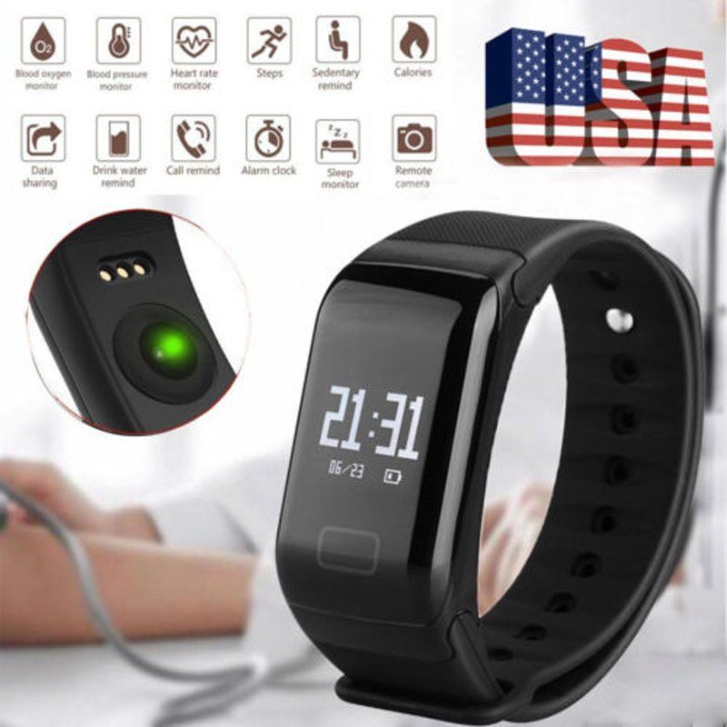OLED Smart Bracelet Sports Bluetooth 4.0 Waterproof Wristbands with Step Count Heart Rate Blood Pressure Healthy Monitoring