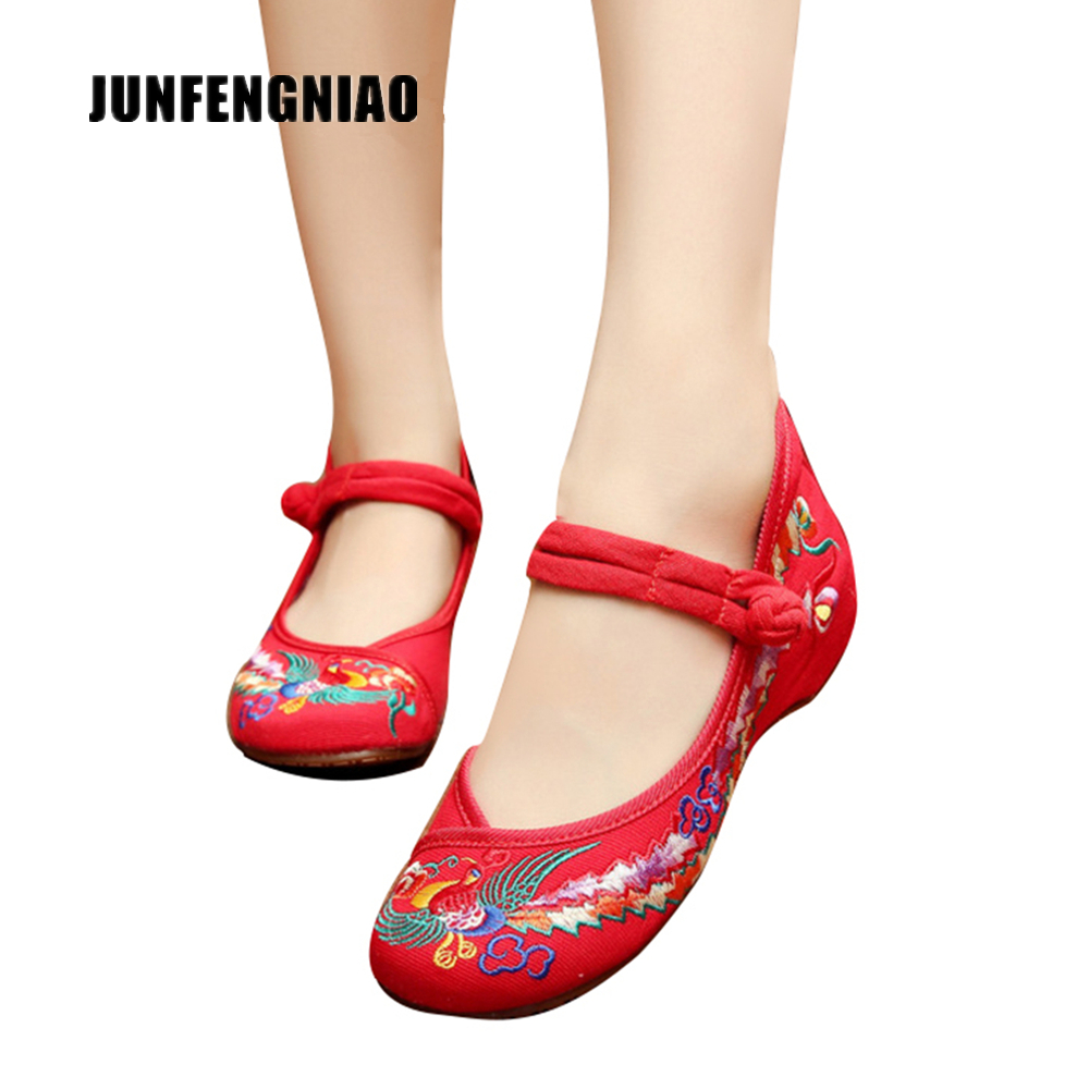 JUNFENGNIAO Women Shoes Flats Sandals Embroider Mother Flower Slip On Canvas Round Toe Floral Dance Retro Casual Superstar YBY-1 vintage embroidery women flats chinese floral canvas embroidered shoes national old beijing cloth single dance soft flats