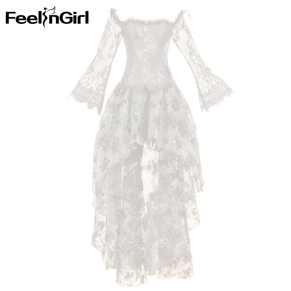 FeelinGirl femmes Vintage Steampunk Corset robe victorienne rétro gothique top Corset dentelle Corset et Bustiers Sexy robe de soirée-E