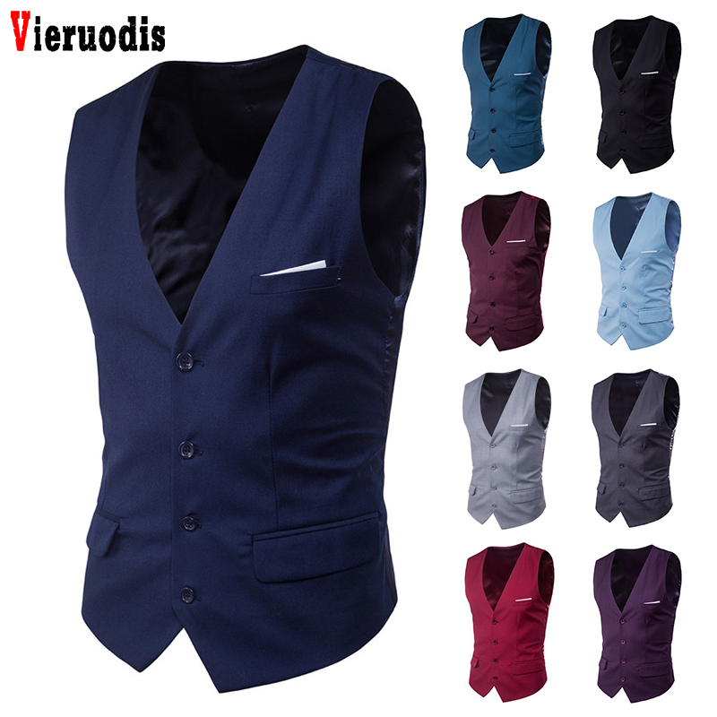 Men's Business 9 Color  Casual Slim Vest Male Suit For 2019 Autumn 6XL Suit Vest Fashion Men Solid Color Single Buttons Vest Fit