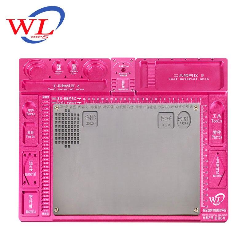 WL en alliage d'aluminium Pad de réparation multifonction Base de Microscope plate forme de Maintenance de réparation de téléphone Mobile + seulement Pad - 3