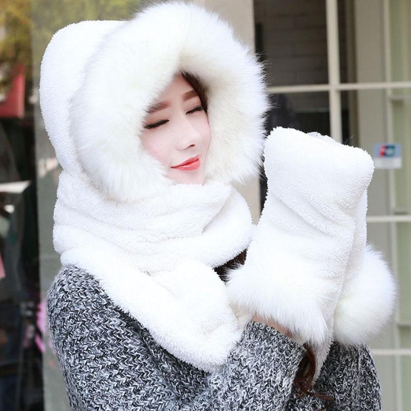 New Women Autumn Winter warm hat scarf gloves set Faux Fur Scarf 2017 Hot Sale Promotion Scarves glove hat set