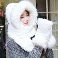 New mulheres outono inverno quente cachecol chapéu luvas conjunto lenço da pele do falso 2017 promoção de venda quente lenços conjunto chapéu luva