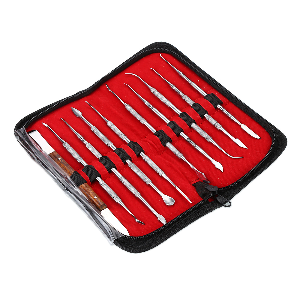 BRAND NEW Wax Carving Tool Set Stainless Steel Versatile Kit Dental Instrument Dental Lab Equipment With Holder Case BFWY 3pcs set stainless steel carving chisel wax carving tools set