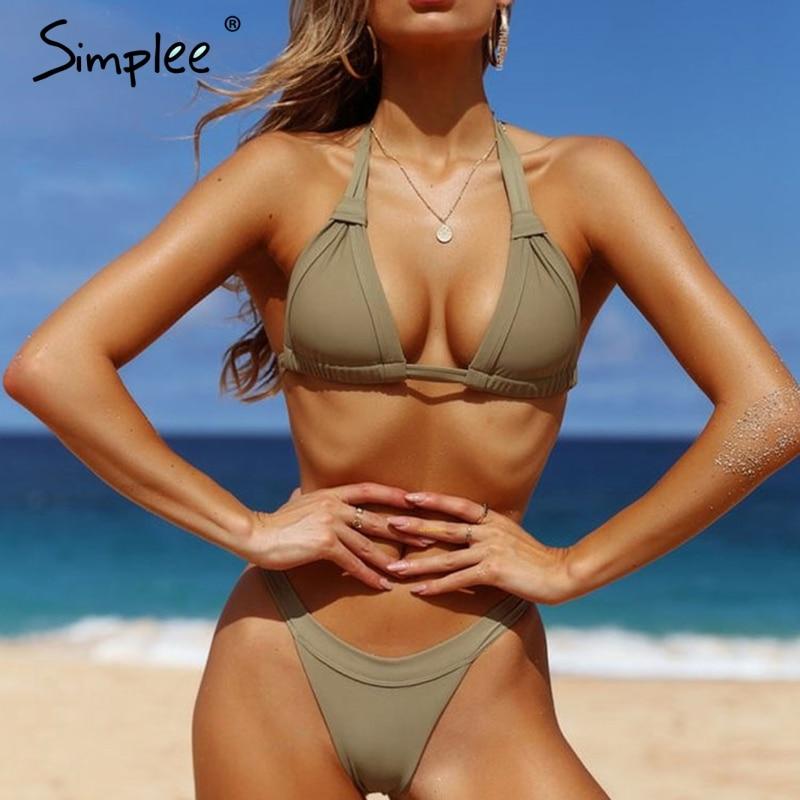 Simplee Halter padded beach   bra     set   Lycar sexy underwear women lingerie   set   Backless tie up intimates Summer push up   bra