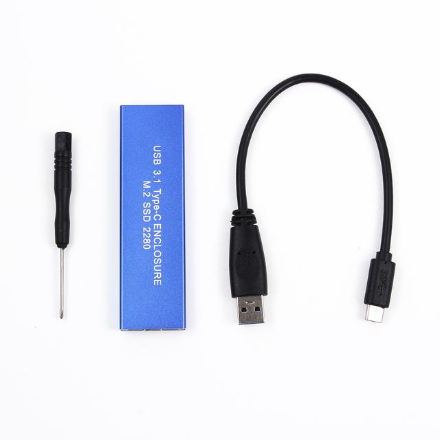 Envío de la Nueva Llegada Caja de Disco Duro USB 3.1 Tipo C USB-C a SSD NGFF M.2 Tecla B 2280 Adaptador Caja de tarjeta