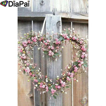 DIAPAI Diamond Painting 5D DIY 100% Full Square/Round Drill Heart flower wreathDiamond Embroidery Cross Stitch 3D Decor A24434 diapai 100% full square round drill 5d diy diamond painting flower landscape diamond embroidery cross stitch 3d decor a21095
