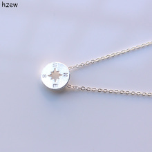 Min 1pc Gold and Silver simple round jewelry vintage compass necklace round aluminum compass silver