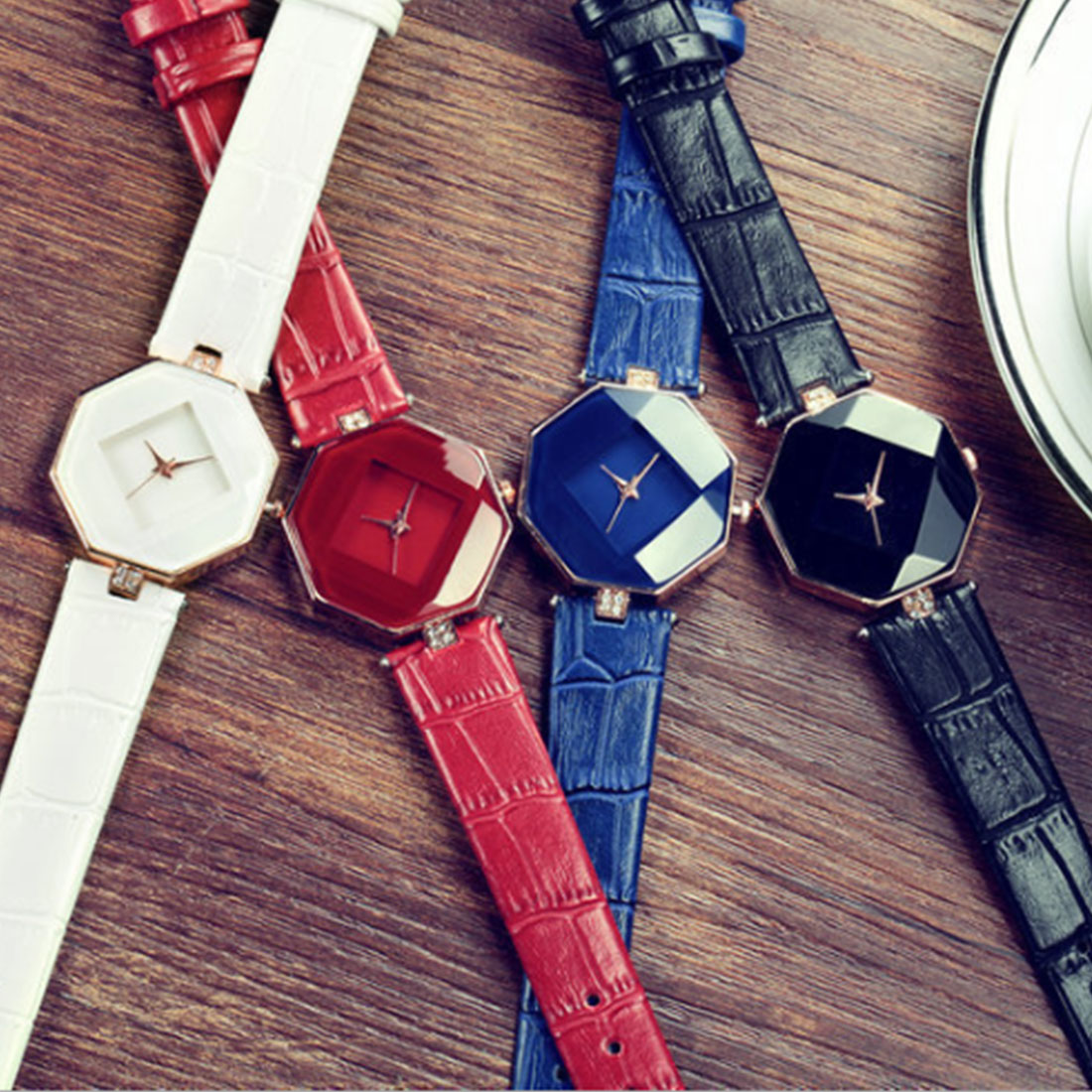 1pcs relogio feminino reloj mujer Leather Womens Quartz Bracelet Watch Crystal Diamond Wrist Gift