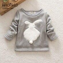 Kacakid nouveau mignon bébé filles chemises enfants épais de bande dessinée à manches longues t-shirt en peluche lapin Sweats enfants mignon doux manteau